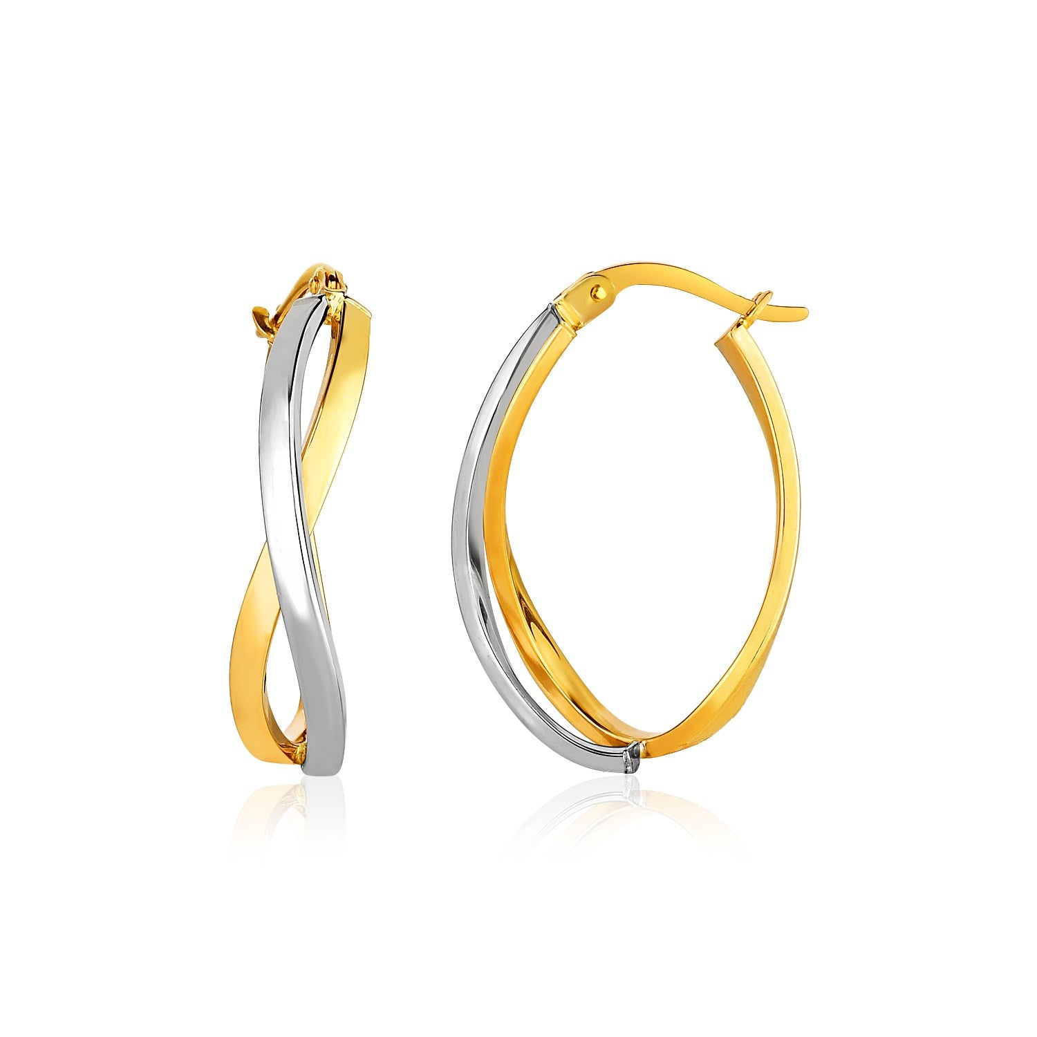 14K Two-Tone Gold Twisted Style Polished Hoop Earrings