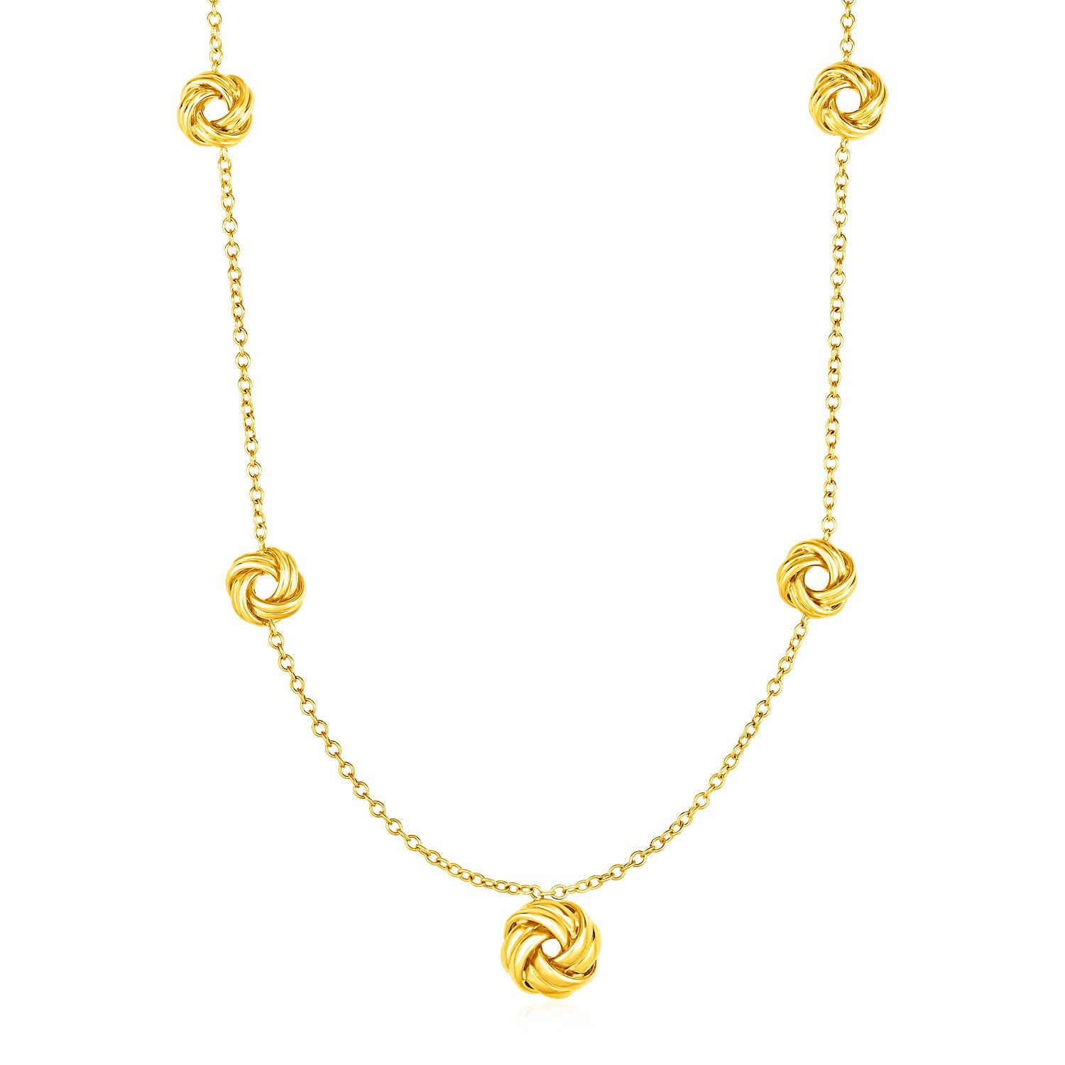 Necklace with Love Knots in 10K Yellow Gold