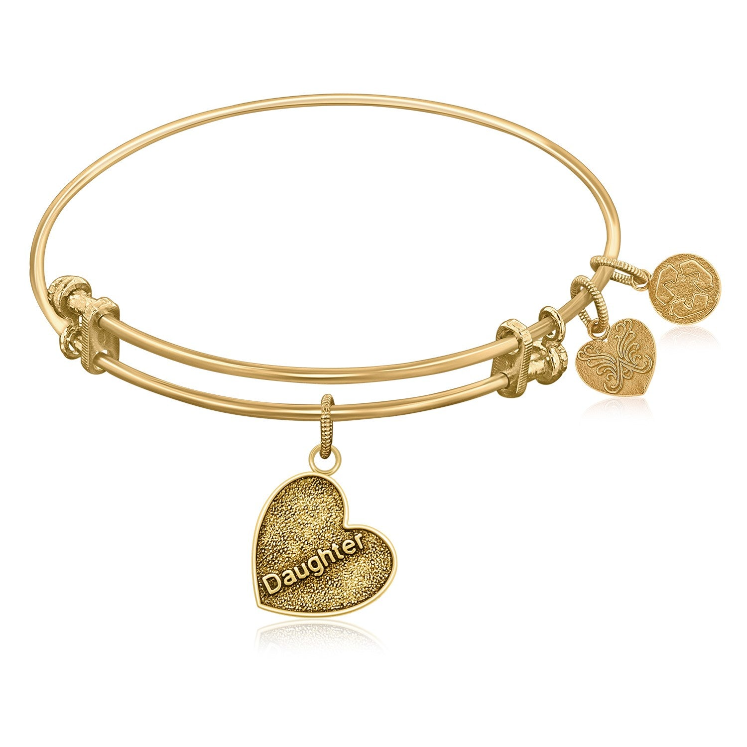 Expandable Bangle in Yellow Tone Brass with Daughter Special Love Symbol