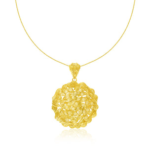 14K Yellow Gold Twisted Link Inspired Round Pendant