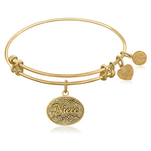Expandable Bangle in Yellow Tone Brass with Niece Symbol