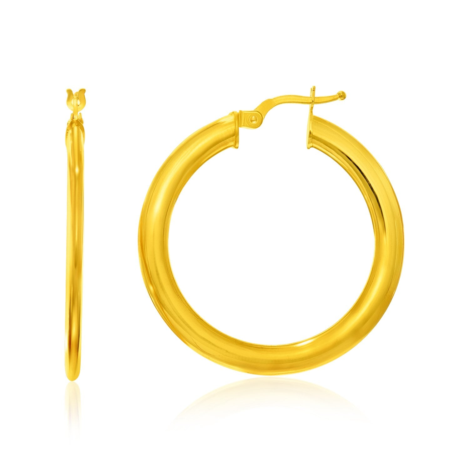 14K Yellow Gold Round Slim Design Hoop Earrings