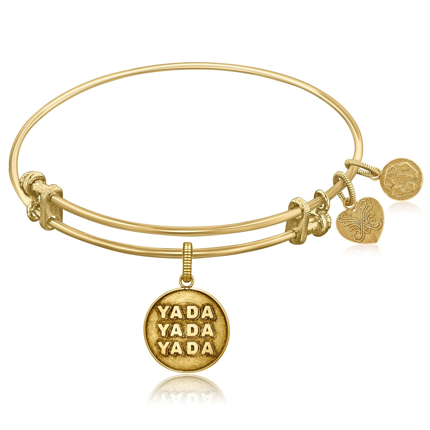 Expandable Yellow Tone Brass Bangle with Seinfeld Yada-Yada-Yada Symbol