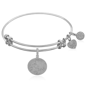 Expandable White Tone Brass Bangle with Oval Engravable Symbol
