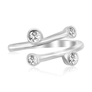 Sterling Silver Rhodium Plated Cubic Zirconia Accented Overlap Style Toe Ring - Uniquepedia.com