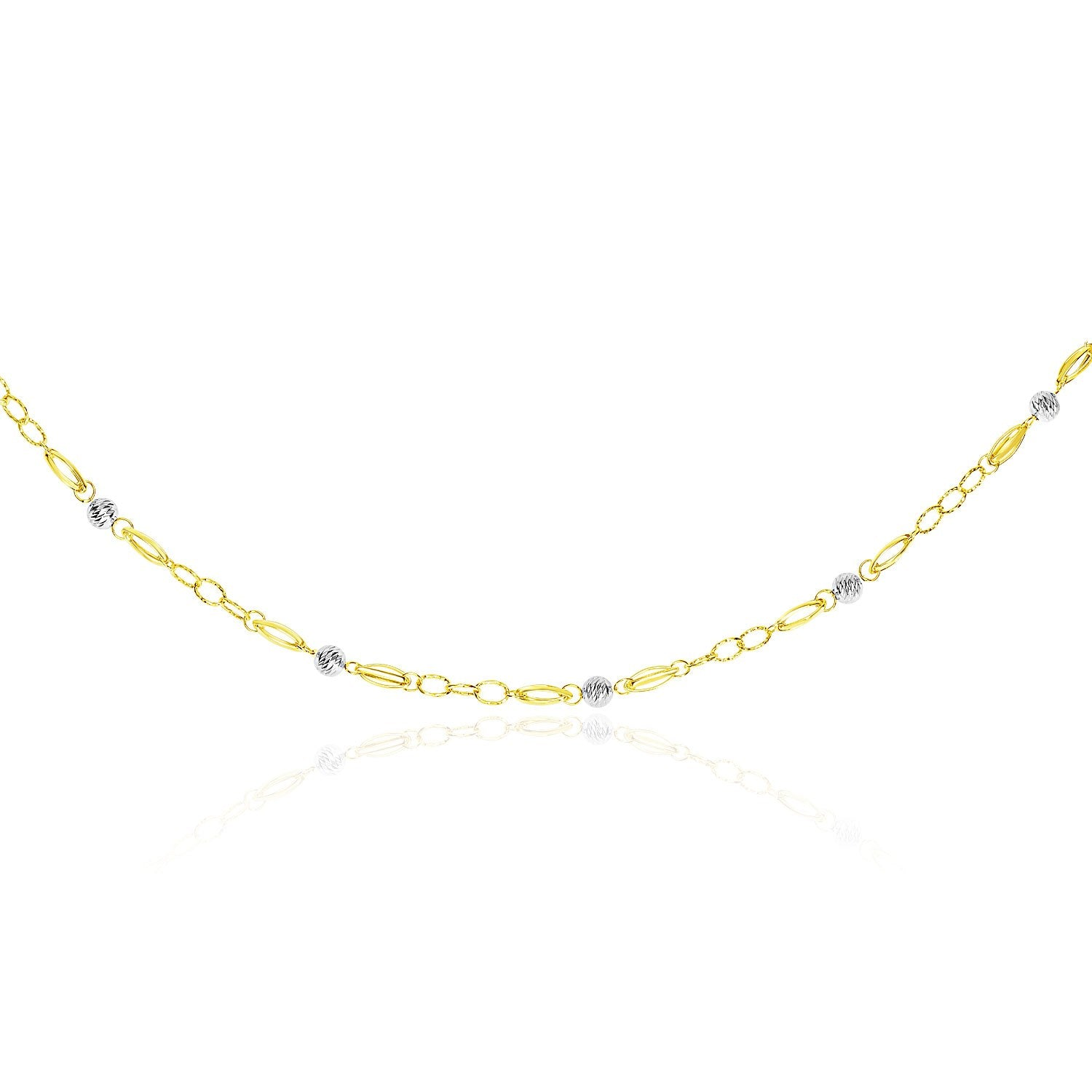 14K Two-Tone Gold Long Multi-Textured Necklace with Disc Sections