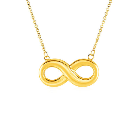 Unique Hollywood Style Necklace with Infinity Symbol in 10K Yellow Gold
