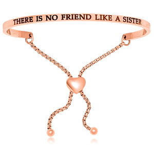 Pink Stainless Steel There Is No Friend Like A Sister Adjustable Bracelet
