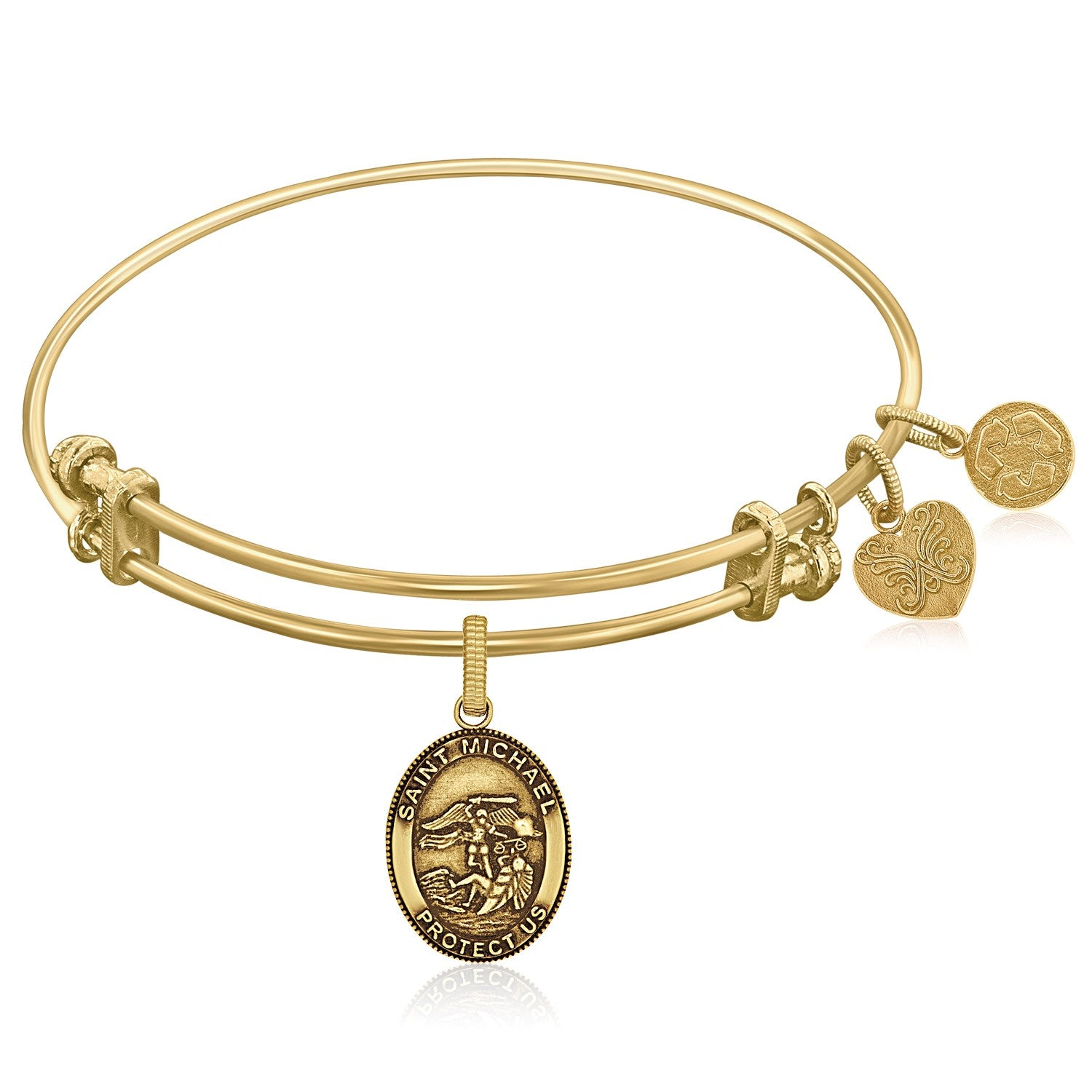 Distinctive Monaco Style Expandable Yellow Tone Brass Bangle with St. Michael Symbol