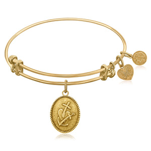 Expandable Bangle in Yellow Tone Brass with Faith Hope and Charity Symbol