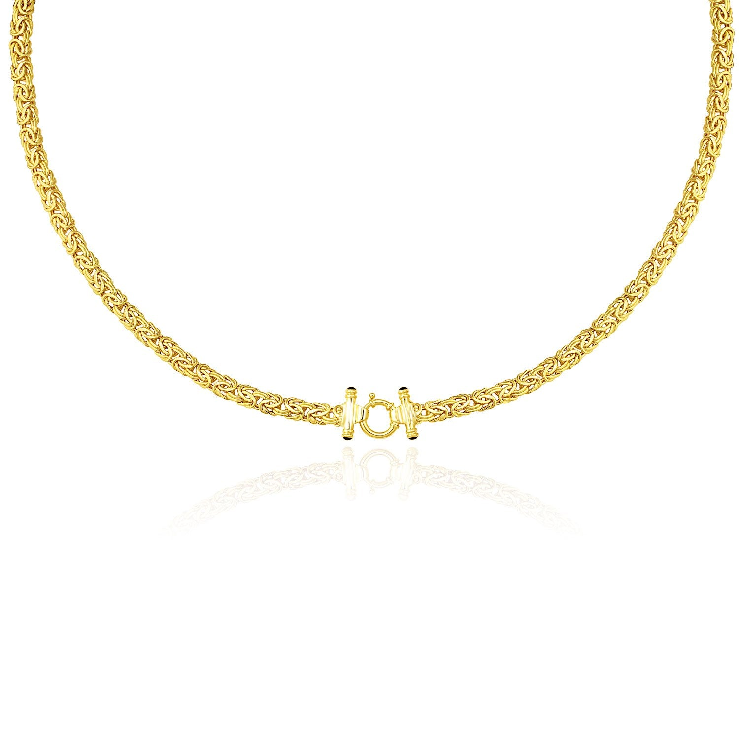 14K Yellow Gold Necklace with a Byzantine Style