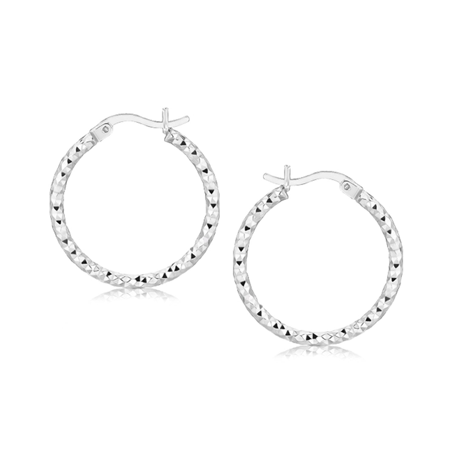 Sterling Silver Rhodium Plated Weave Like Hoop Style Earrings
