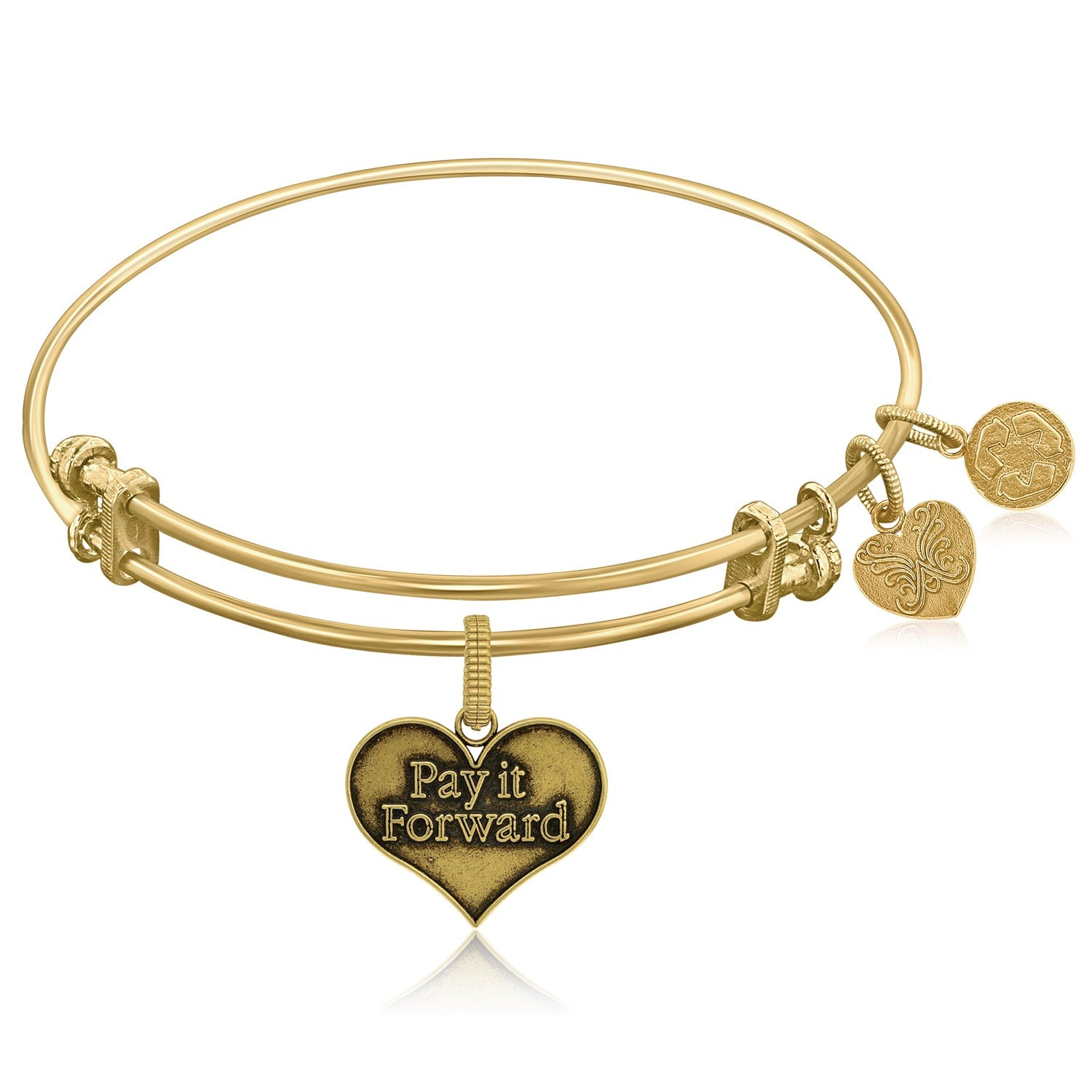 Expandable Yellow Tone Brass Bangle with Pay It Forward Symbol