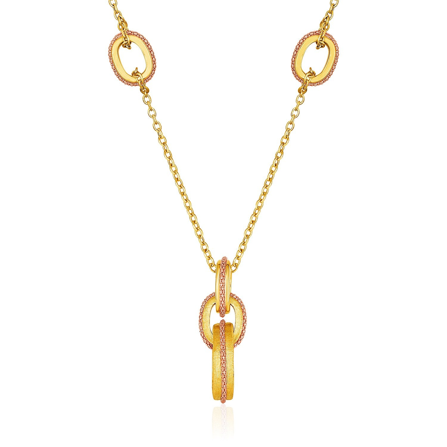 14K Two-Tone Yellow and Rose Gold Link and Chain Necklace