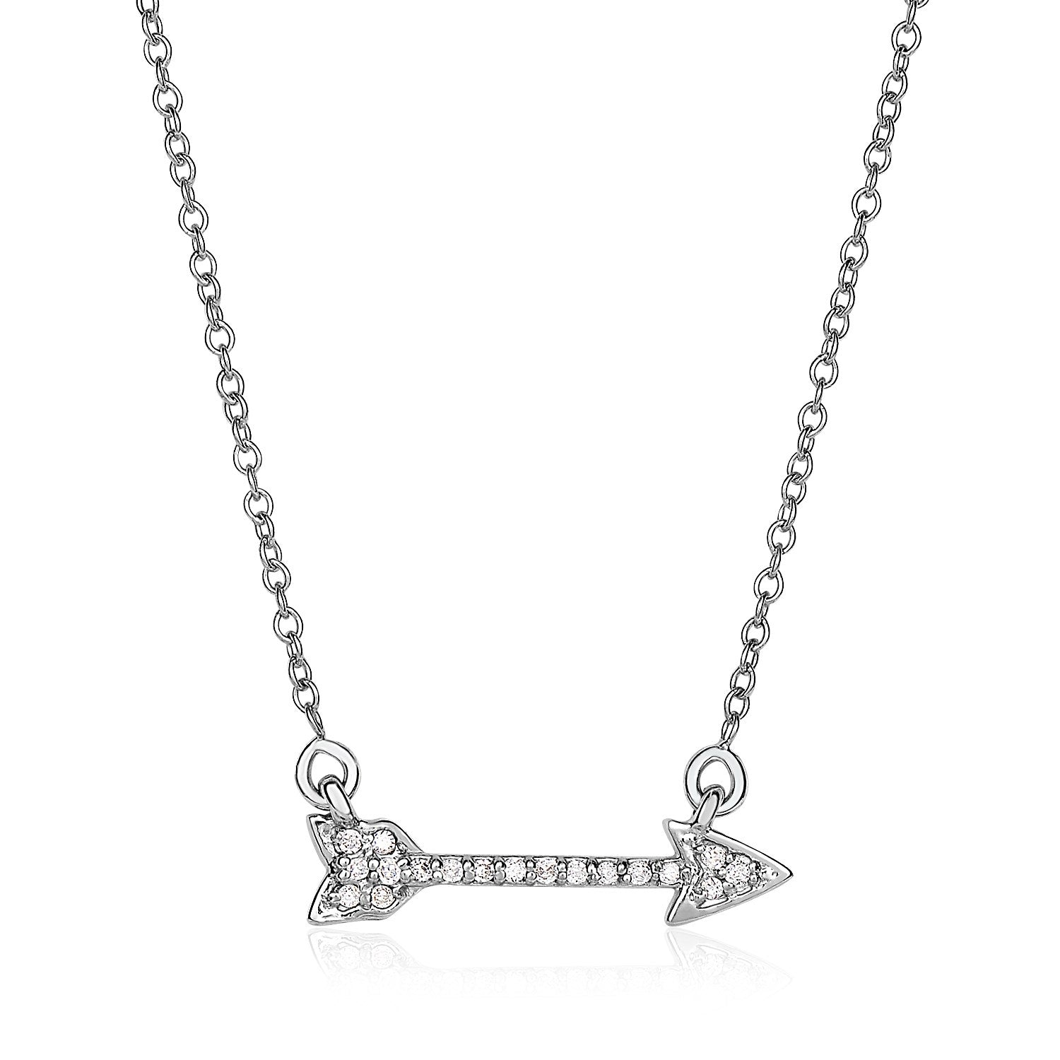 14K White Gold 18 inch Necklace with Gold and Diamond Arrow (1/10 ct. tw.)