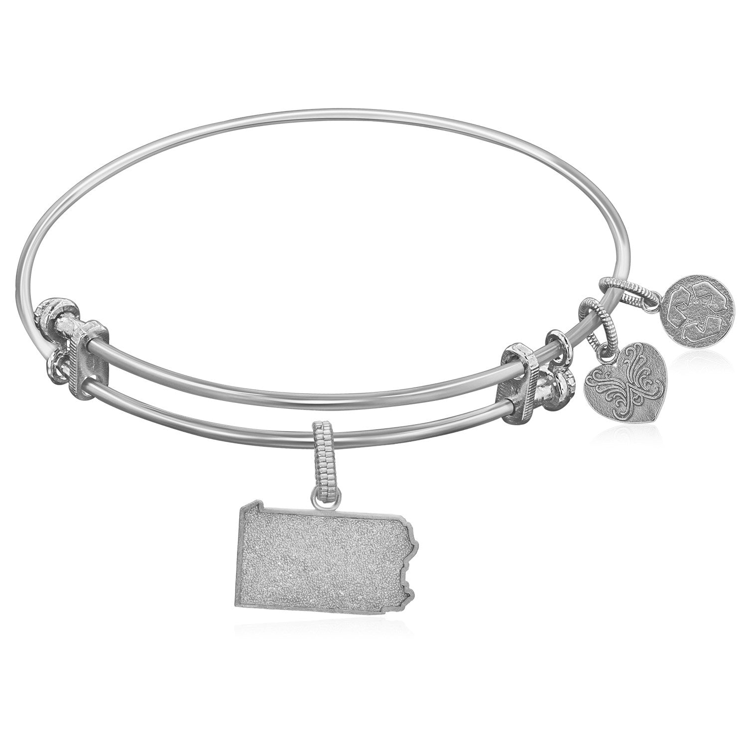 Expandable White Tone Brass Bangle with Pennsylvania Symbol