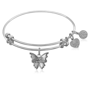 Expandable Bangle in White Tone Brass with Grand Daughter Symbol