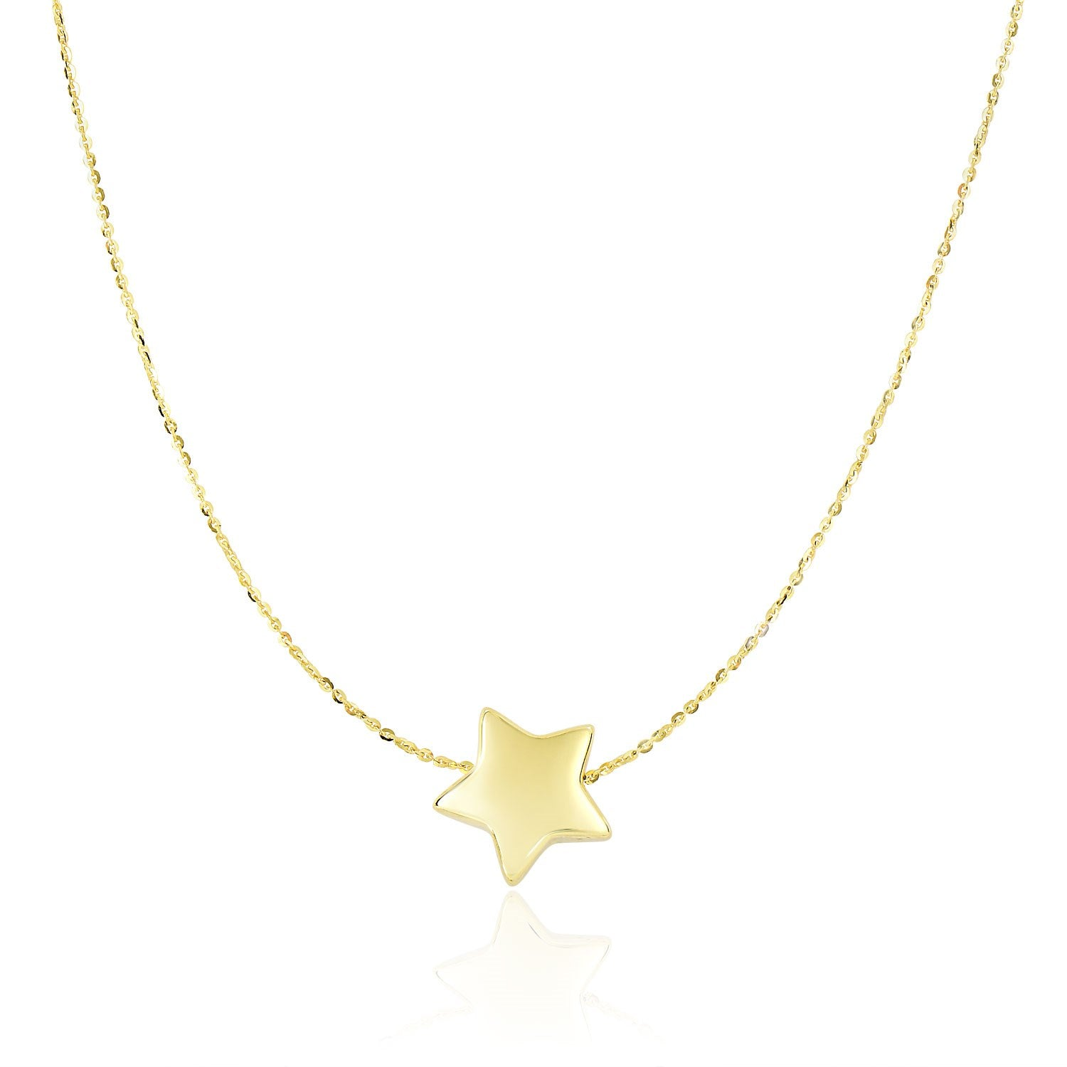 14K Yellow Gold Necklace with Shiny Puffed Sliding Star Charm