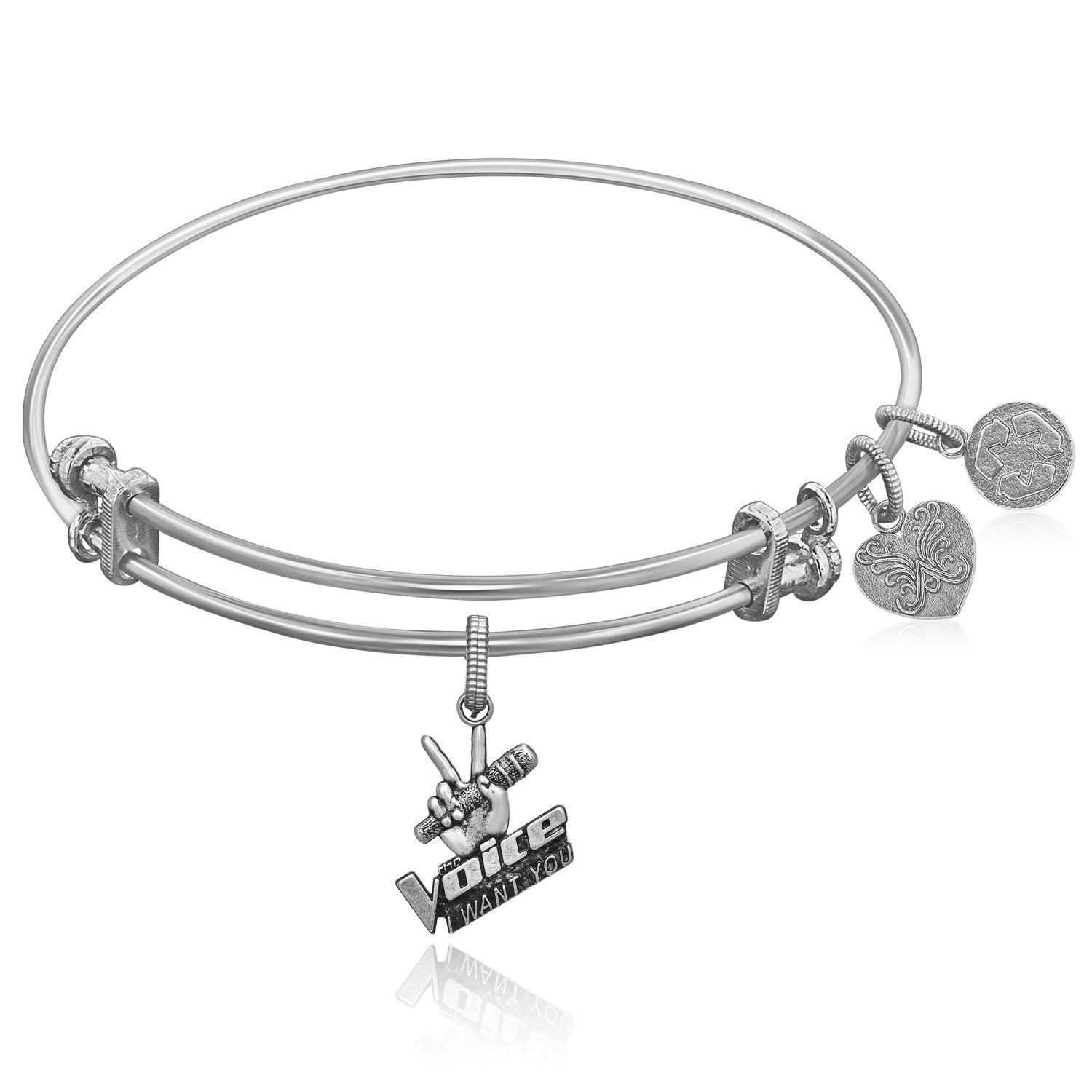 Expandable White Tone Brass Bangle with The Voice Microphone Symbol