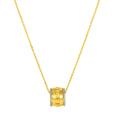 Original New York Style  Basket Weave Textured Pendant in 14K Yellow and White Gold