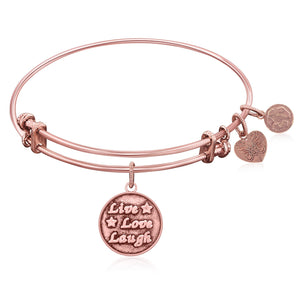 Expandable Bangle in Pink Tone Brass with Joy of Life Symbol