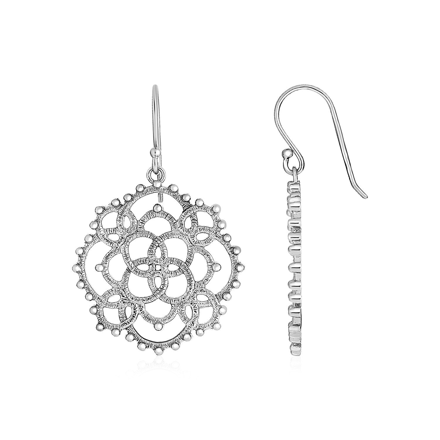 Unique Modern Paris Style Earrings with Textured Loop Pattern Drops in Sterling Silver
