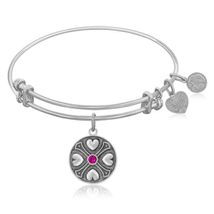 Luxury London Style Original Expandable Bangle in White Tone Brass with Ruby July Symbol