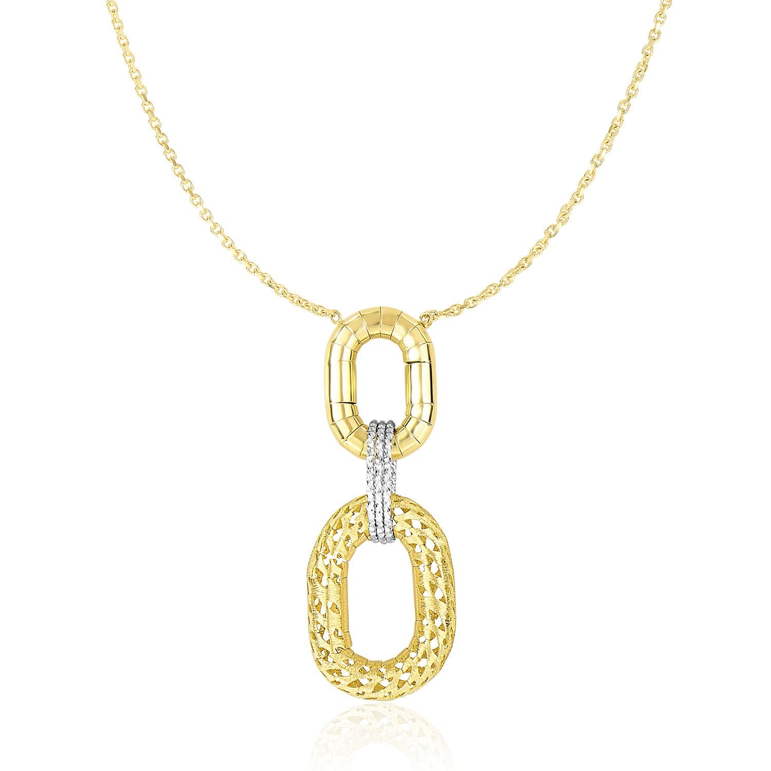 chain gold link double inches two accent tone mariner necklace flat
