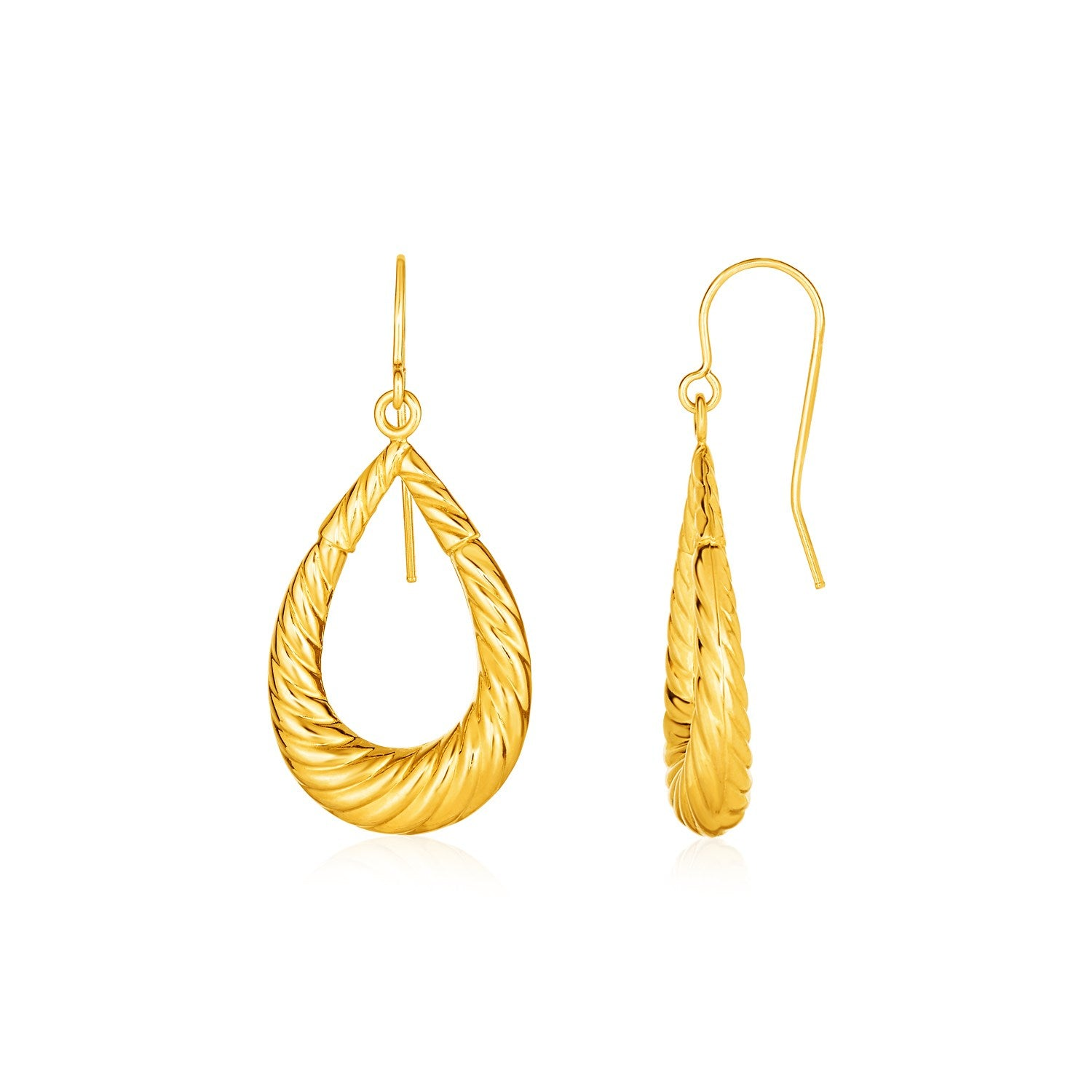 Open Ridged Teardrop Earrings in 10K Yellow Gold