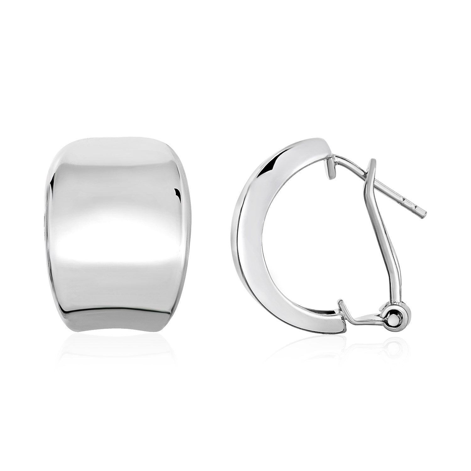 Unique Modern Paris Style Polished Graduated Width Half-Hoop Earrings in Sterling Silver