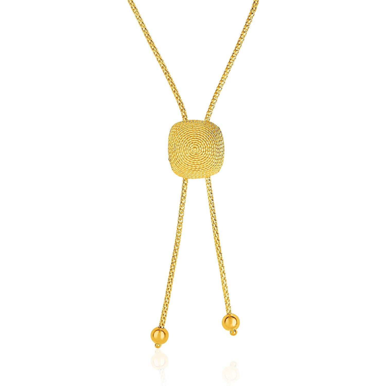 14K Yellow Gold Adjustable Lariat Necklace with Textured Semi-Square Dome