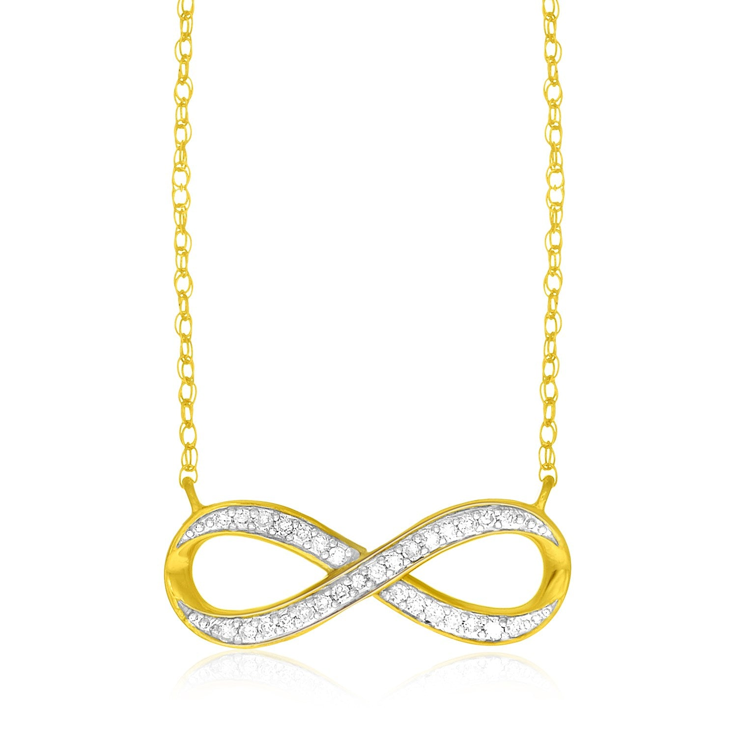 14K Yellow Gold Infinity Chain Necklace with Diamonds