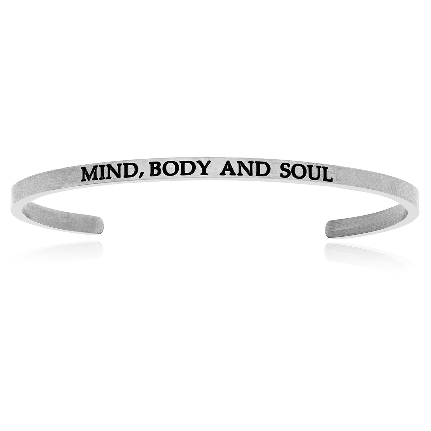 Stainless Steel Mind  Body And Soul Cuff Bracelet