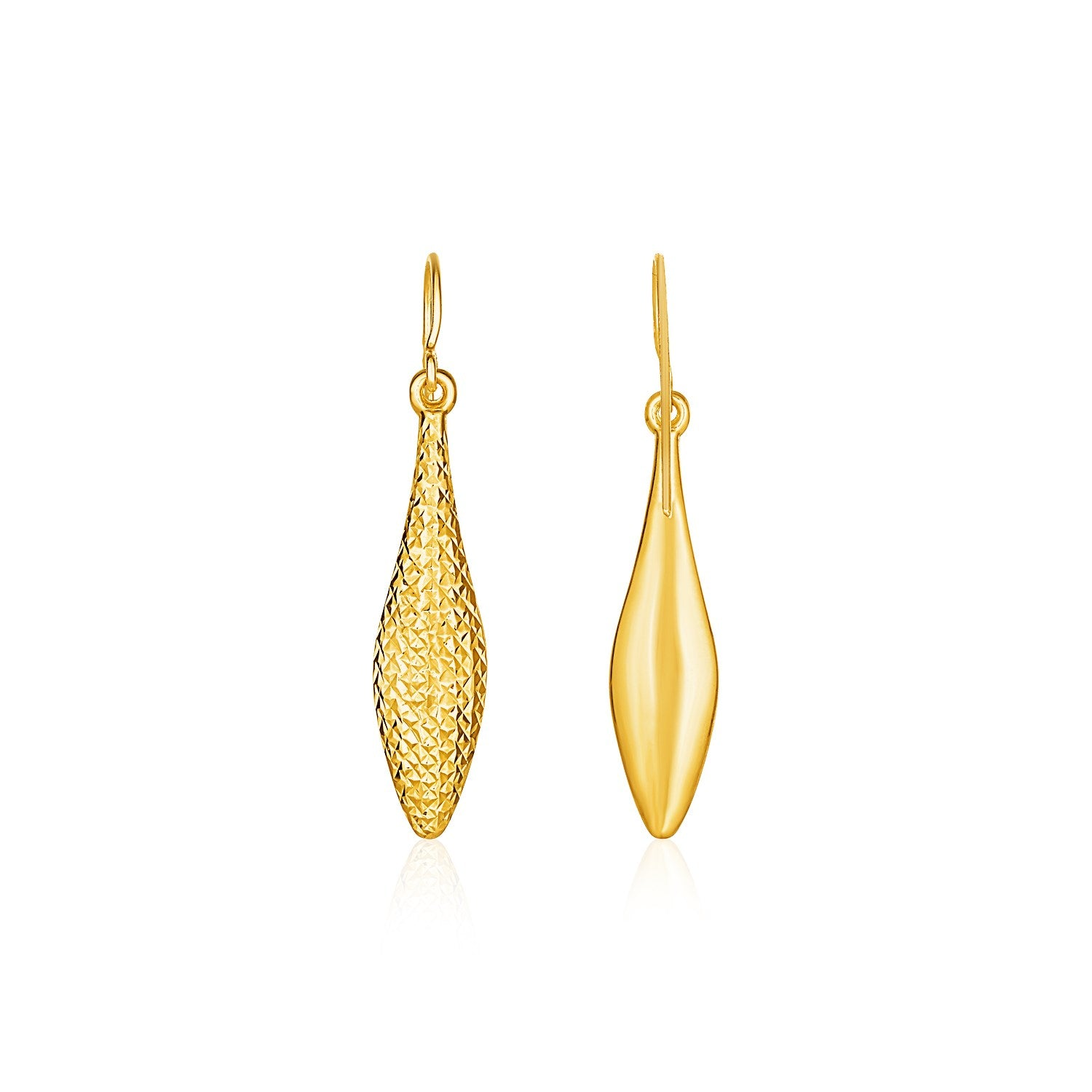 Reversible Textured and Smooth Puffed Marquise Shape Earrings in 10K Yellow Gold