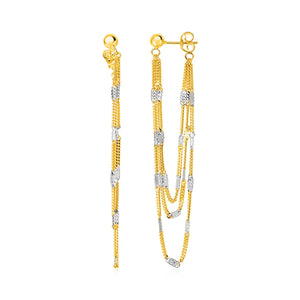 Modern Hollywood Style Classy Hanging Chain Earrings with Rectangular Accents in 14K Yellow and White Gold