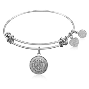 Expandable Bangle in White Tone Brass with Peace Universal Tranquility Symbol
