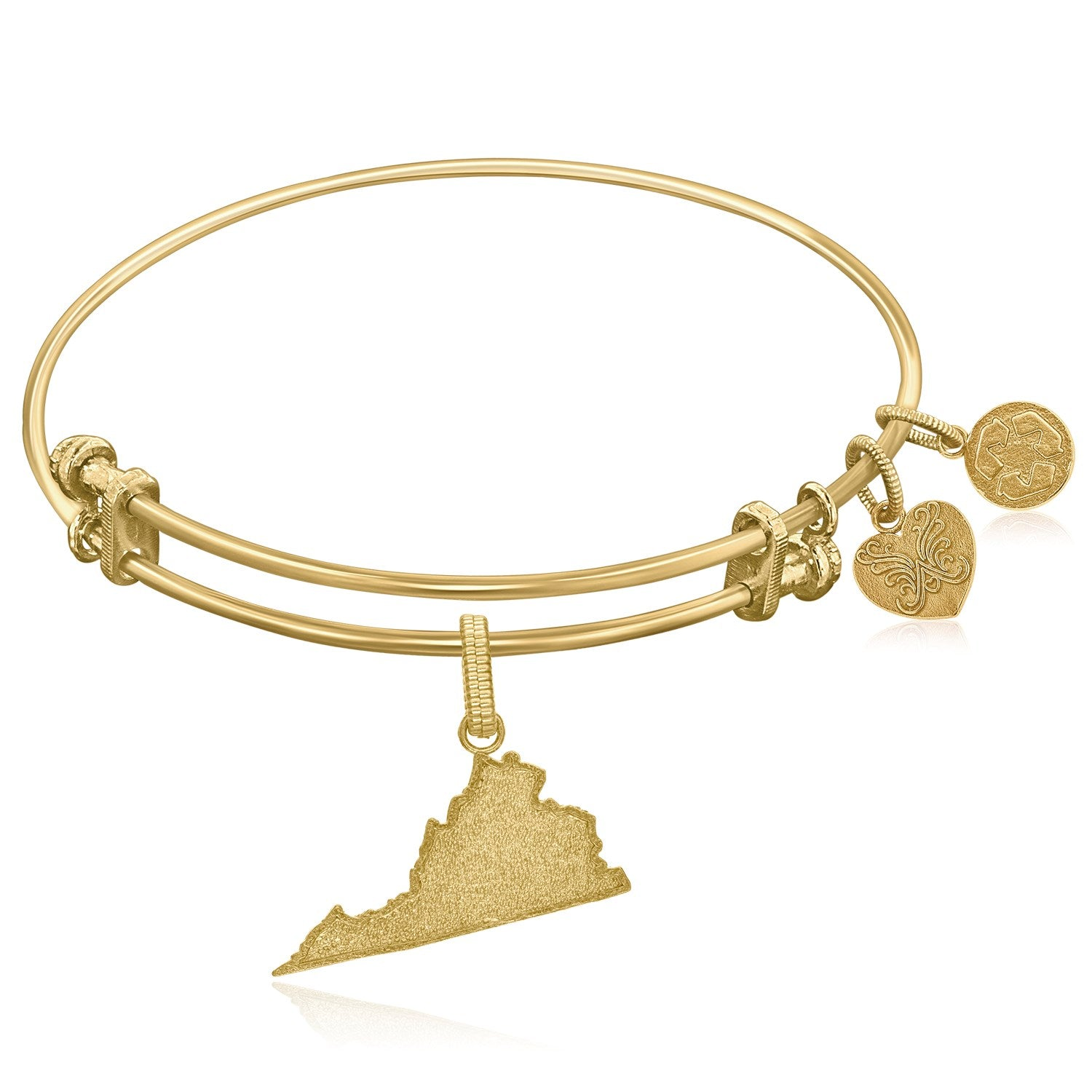Expandable Yellow Tone Brass Bangle with Virginia  Symbol