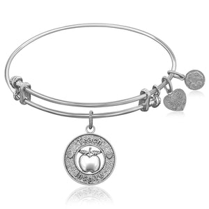 Expandable Bangle in White Tone Brass with Teacher Symbol