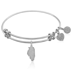 Expandable White Tone Brass Bangle with Illinois Symbol