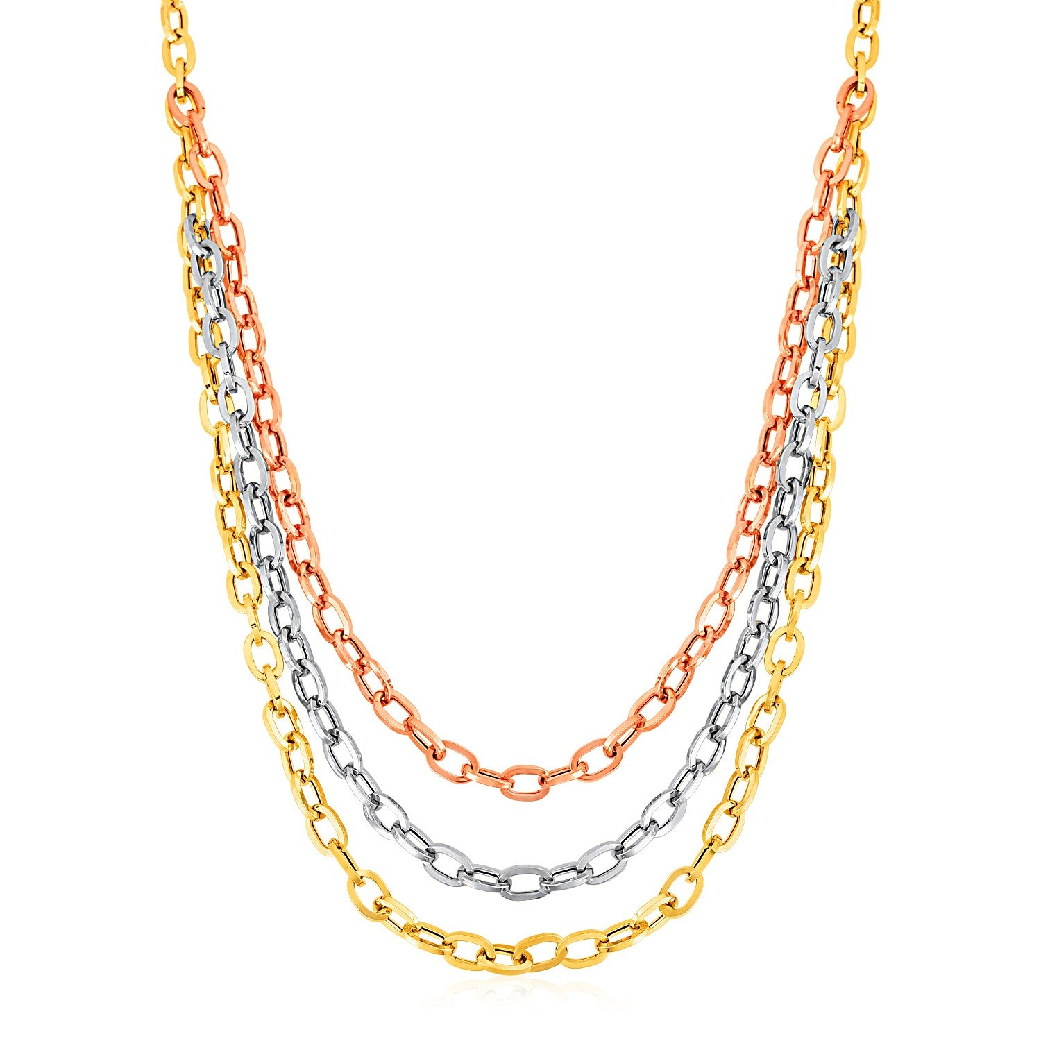 Unique Hollywood Style Three Strand Oval Link Necklace in 14K Tri Color Gold