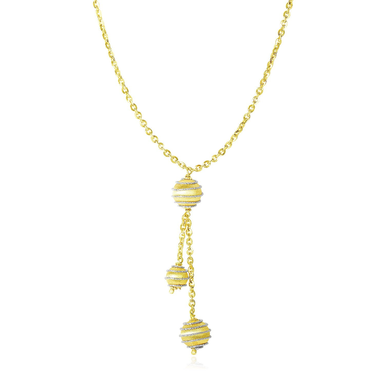 14K Two-Tone Gold Lariat Style Necklace with Coil Wrapped Balls