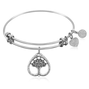 Expandable Bangle in White Tone Brass with Tree Of Life Growth Maturity Symbol