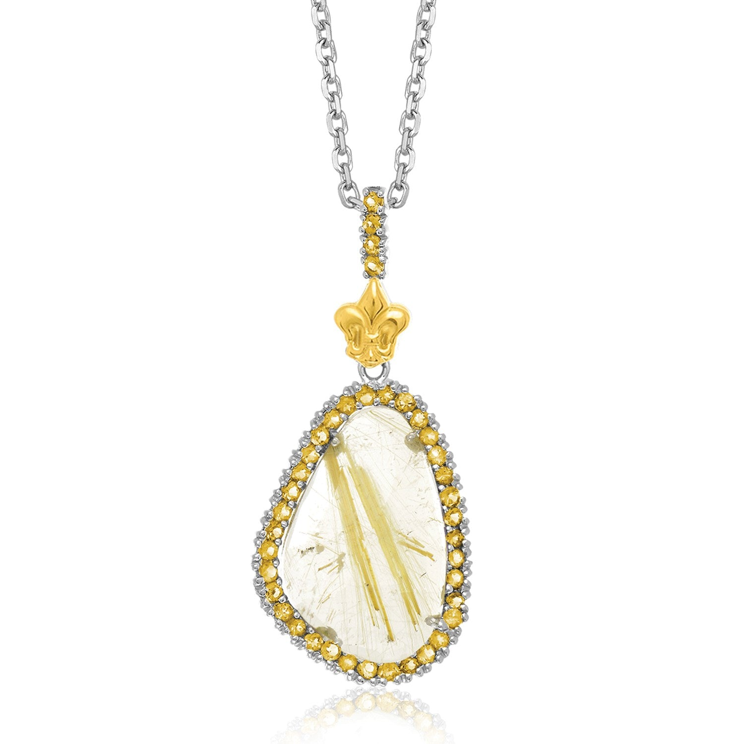 Distinctive Luxury London Style 18K Yellow Gold & Sterling Silver Golden Rutilated Quartz Pendant