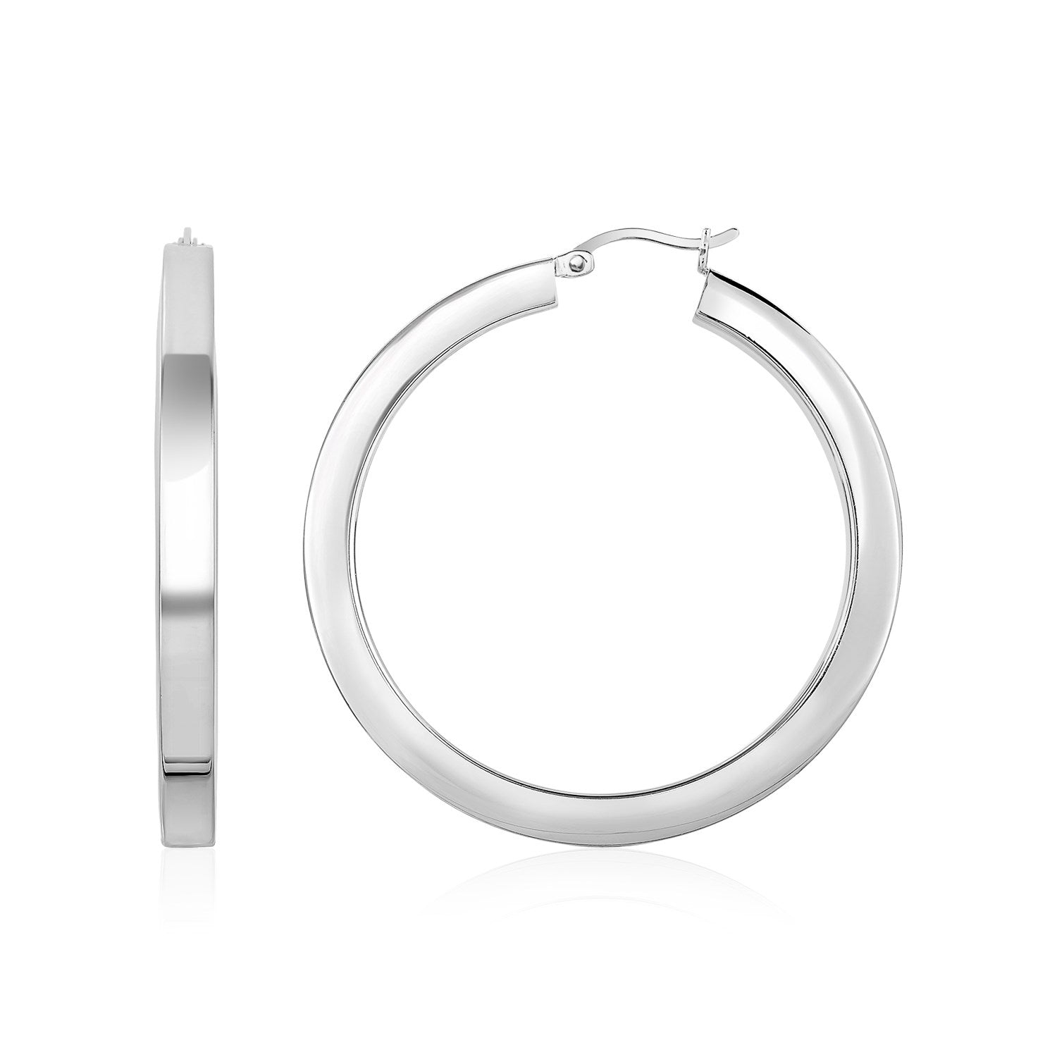 High Polish Tube Hoop Earrings in Sterling Silver