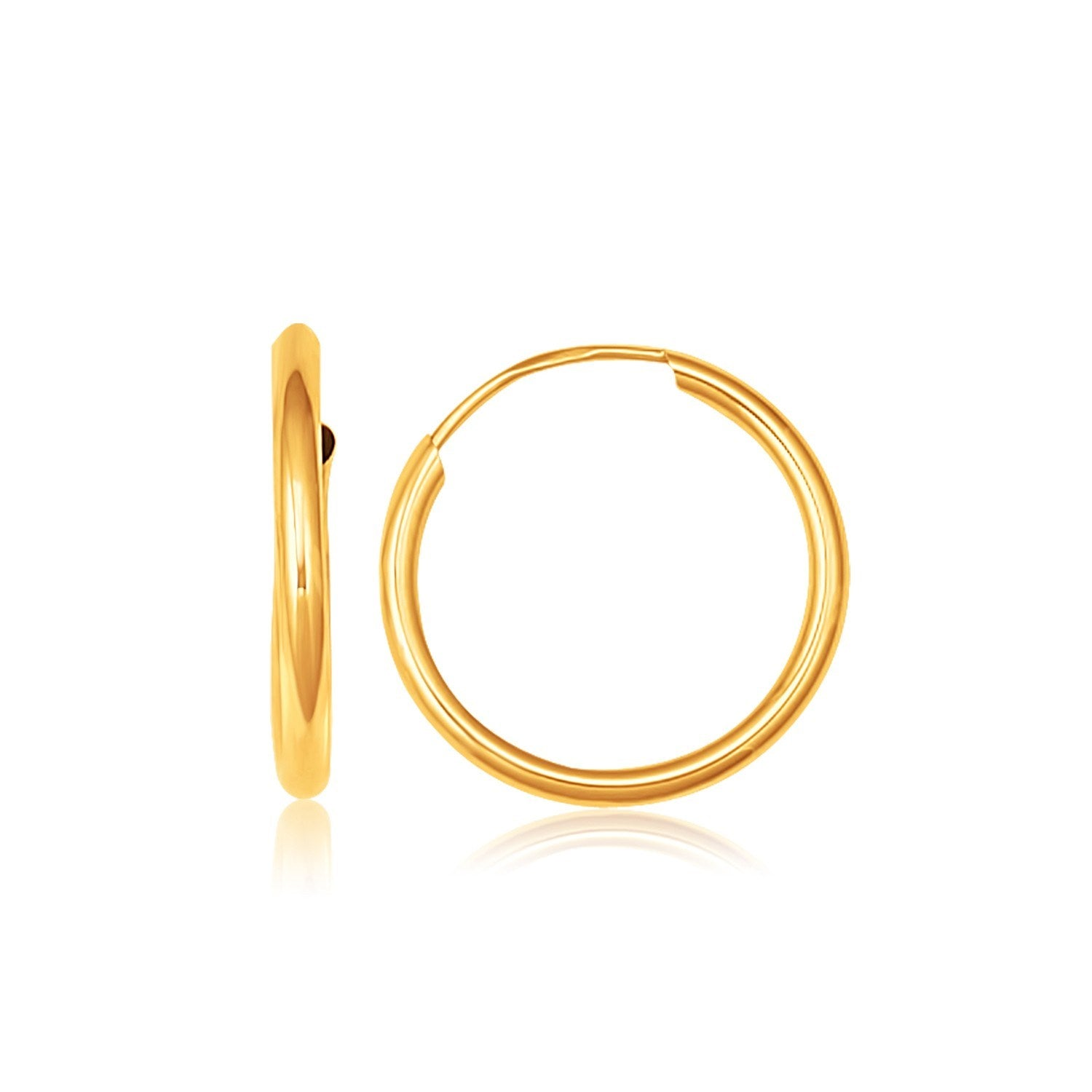10K Yellow Gold Polished Endless Hoop Earrings (5/8 inch Diameter)