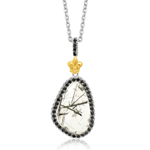 Distinctive Luxury London Style 18K Yellow Gold & Sterling Silver Style Rutilated Quartz Pendant