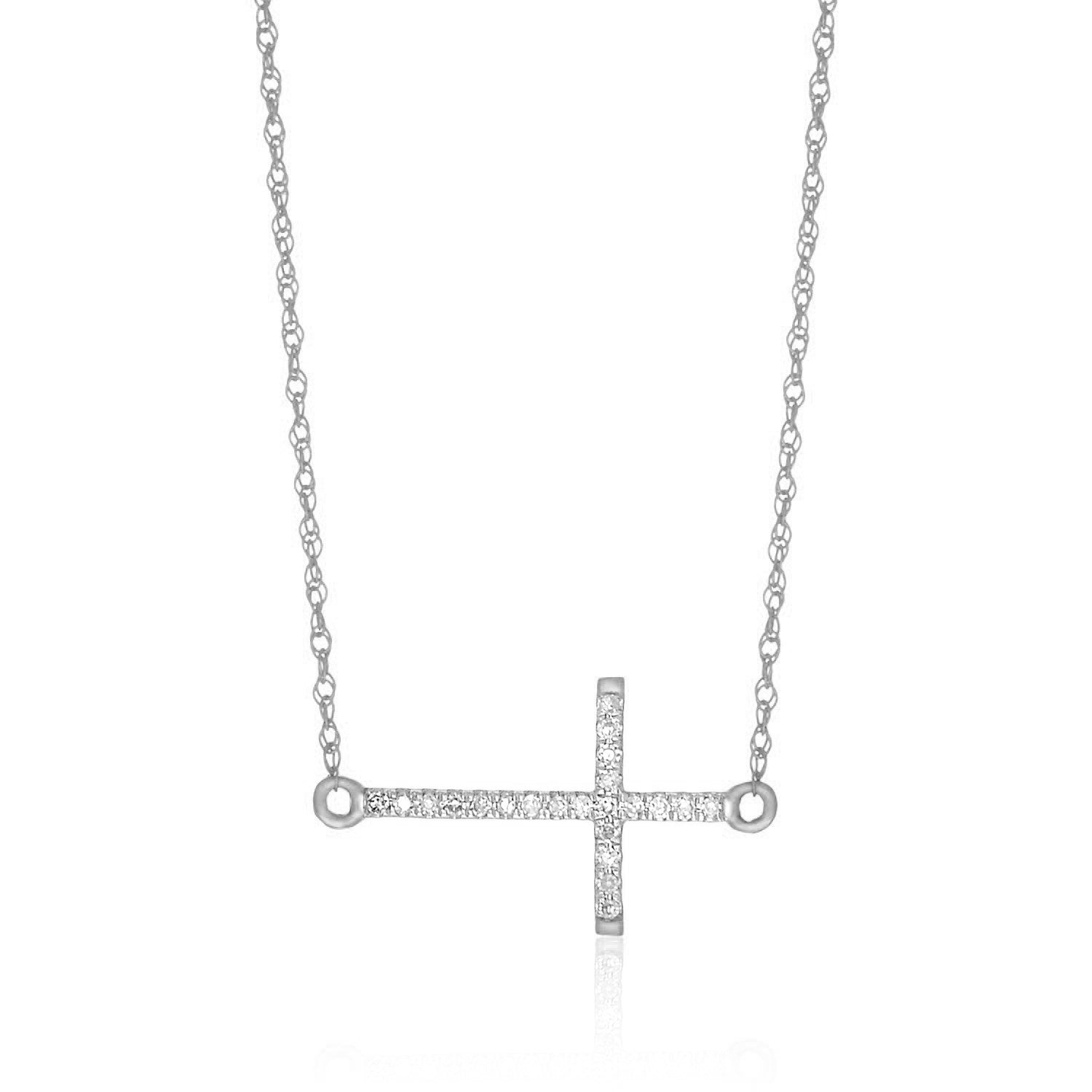 14K White Gold Diamond Embellished Cross Chain Necklace