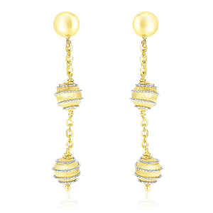 14K Two-Tone Gold Coil Wrapped Ball and Chain Dangling Earrings