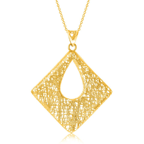 14K Yellow Gold Lace Mesh Open Diamond Motif Pendant