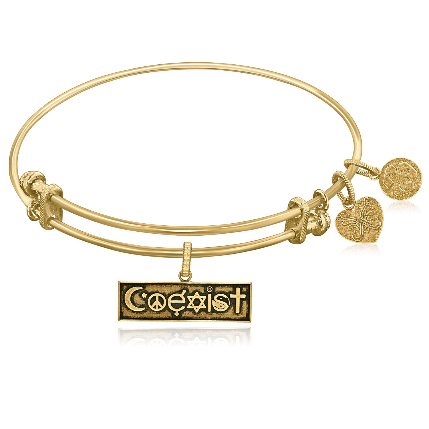 Expandable Yellow Tone Brass Bangle with Coexist Symbol